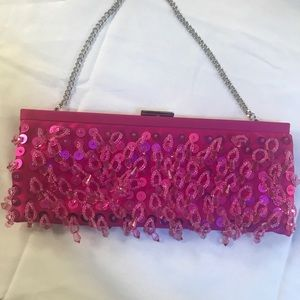 Pink sequined evening clutch